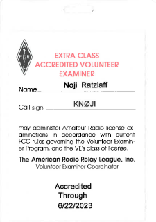 [Noji's ARRL-VEC VE Badge]